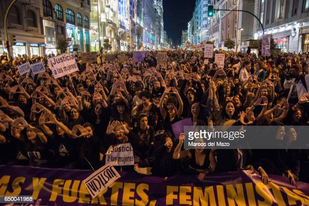 Thousands of people protesting during a demonstration for International Woman's Day