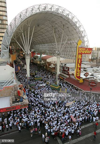 "Thousands of people rally at the Fremont Street Experience in support of immigrant rights as part of ""Day Without Immigrants"" May 1, 2006 in Las..."