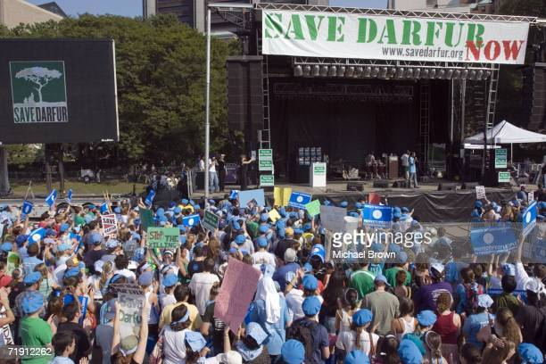 Thousands of people rally in Central Park to call for the immediate deployment of UN peacekeepers to protect the innocent victims in Darfur Sudan...