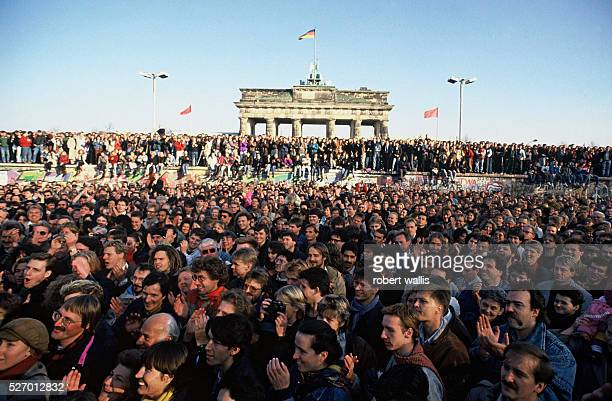 Thousands of people rushed to the Berlin Wall in the first few days after the opening of the Wall on November 9th 1989