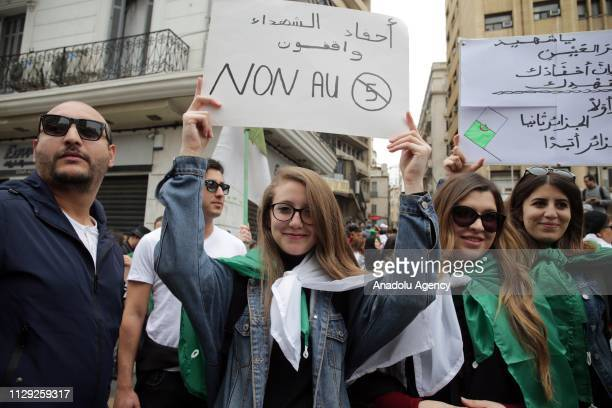 Thousands of people stage a protest march against candidacy of President Abdelaziz Bouteflika for a fifth term in Algiers Algeria on March 08 2019...