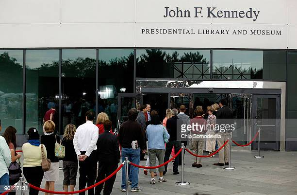 Thousands of people stand in line to see Sen Edward Kennedy lie in repose at the John F Kennedy Presidential Library and Museum August 28 2009 in...
