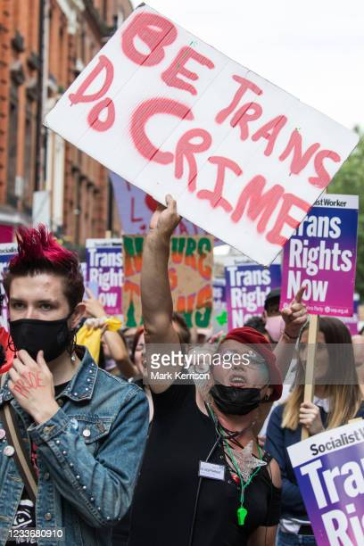 Thousands of people take part in a London Trans+ Pride march from the Wellington Arch to Soho Square on 26th June 2021 in London, United Kingdom....