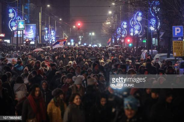Thousands of people take part in a protest against the Serbian government in Belgrade Serbia on January 5 2019 Thousands of protesters marched in the...