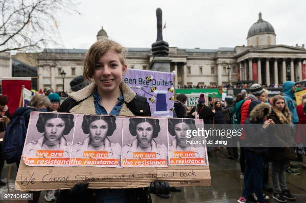 Thousands of people take part in a rally in London's Trafalgar Square during annual March4Women to mark International Women's Day and 100 years since...