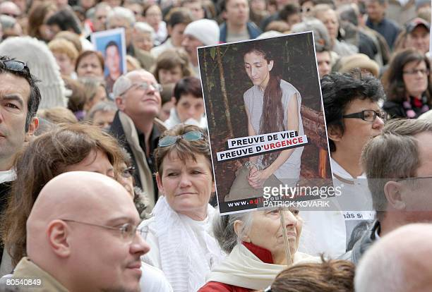 Thousands of people take part in a Solidarity marche on April 6 2008 in Paris to call for the release of French Colombian hostage Ingrid Betancourt...
