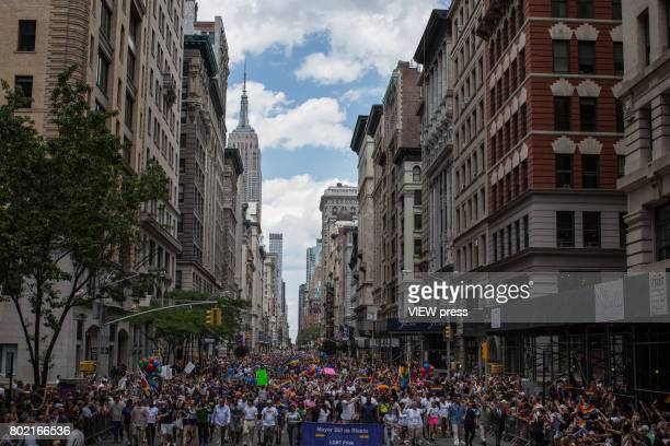 Thousands of people take part in the annual New York Gay Pride Parade in Fifth Avenue on June 25 2017 in New York City