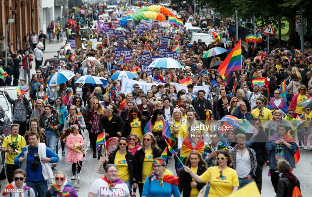 Thousands of people take part in the Glasgow Pride march on August 19, 2017 in Glasgow, Scotland. The largest festival of LGBTI celebration in Scotland has been held every year in Glasgow since 1996.