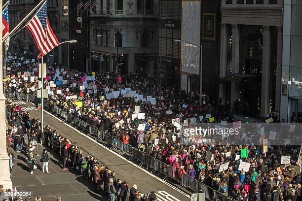 Thousands of people take part in the Women's March in New York City on January 21 2017 Protesters in the United States and around the world are...