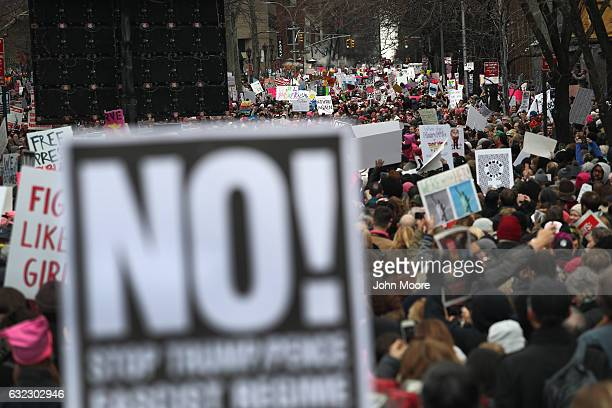 Thousands of people take part in the Women's March on January 21 2017 in New York City The Midtown Manhattan event was one of many antiTrump protests...