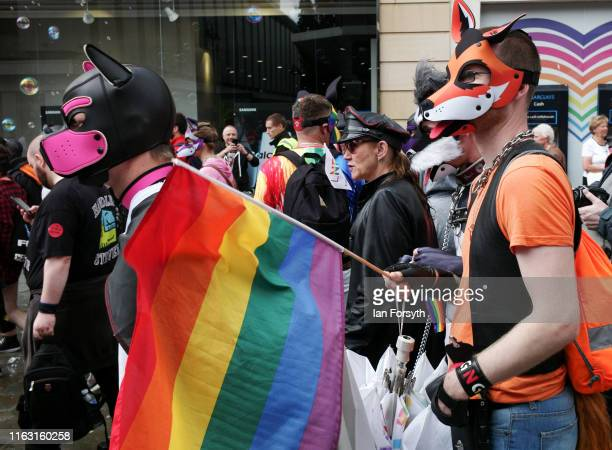 Thousands of people take to the streets as they take part in the Newcastle Pride Festival parade on July 20, 2019 in Newcastle upon Tyne, England. To...