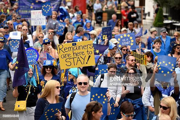 Thousands of people take to the streets in a series of 'March for Europe' rallies in protest against the referendum vote to leave the EU in London...