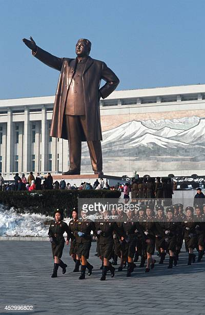 Thousands of people visit the Grand Monument a bronze statue of Kim Il Sung on Mansu Hill in Pyongyang every day to show respect for their Great...