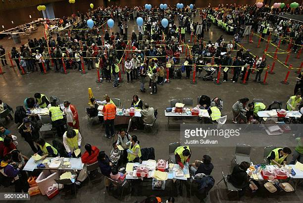 Thousands of people wait in line to receive an H1N1 flu vaccination during a clinic at the Bill Graham Civic Auditorium December 22, 2009 in San...