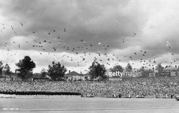 Thousands of pigeons are released at the climax of the opening ceremony of the British Empire Games at Eden Park stadium in Auckland New Zealand 4th...