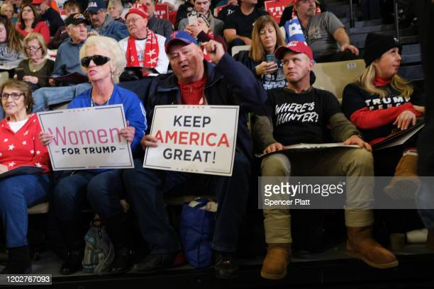 """Thousands of President Donald Trump supporters attend a """"Keep America Great Rally"""" at the Wildwood Convention Center on January 28 2020 in Wildwood..."""