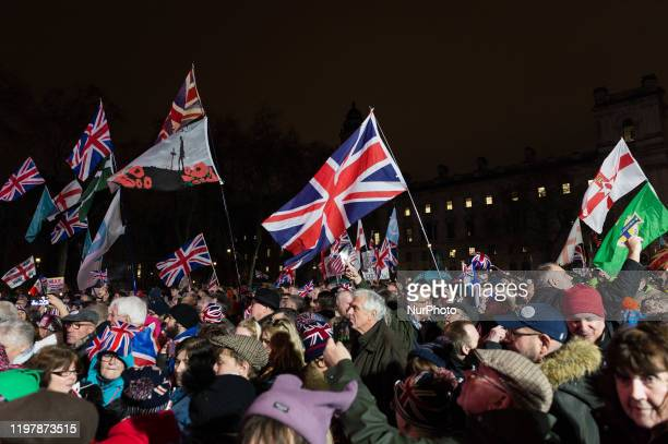 Thousands of pro-Brexit supporters take part in a rally celebrating Britain's departure from the EU in Parliament Square on 31 January, 2020 in...