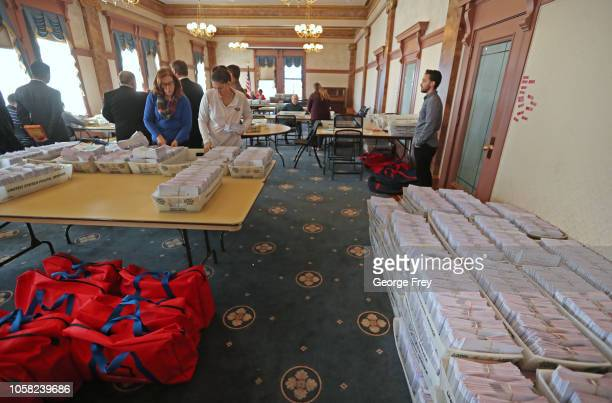Thousands of processed mailin ballots wait to be opened by Utah County election workers for the midterm elections on November 6 2018 in Provo Utah...