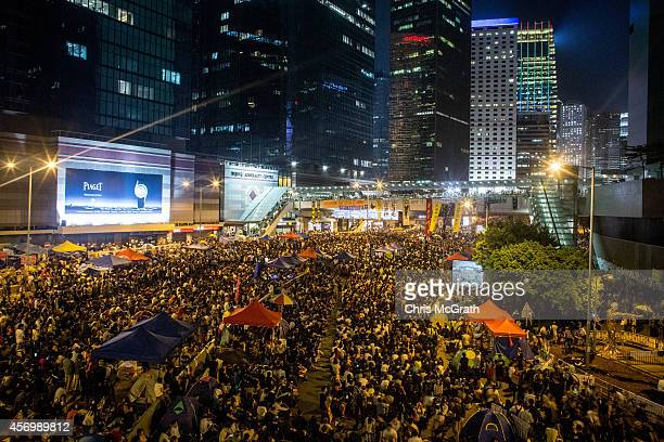 Thousands of prodemocracy protesters fill what has now been called Umbrella Square at Admiralty for a rally on October 10 2014 in Hong Kong Hong Kong...
