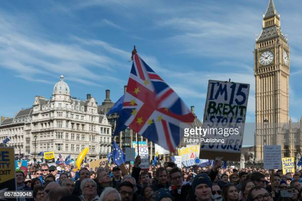 Thousands of proEU supporters took part in Unite For Europe rally in Parliament Square which has been organised to coincide with the 60th anniversary...