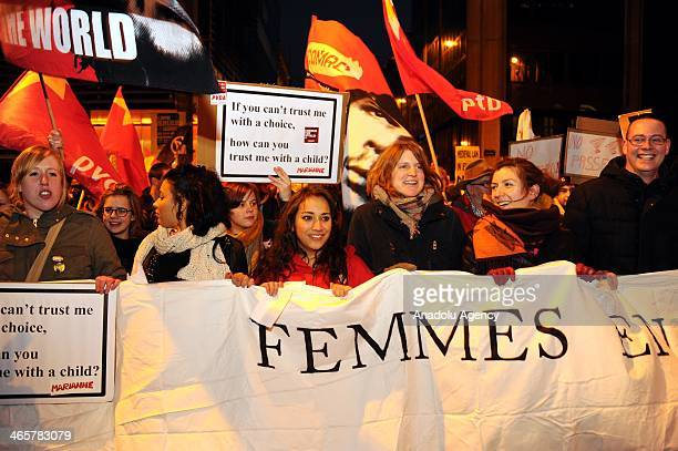 Thousands of prolife activists gather in front of the Spanish Embassy in Brussels to stage a protest against abortion law discussed by Spanish...