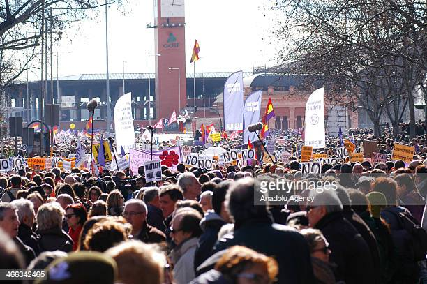 Thousands of prolife activists gather to stage a protest against reform of the country's abortion law proposed by the conservative Spanish government...