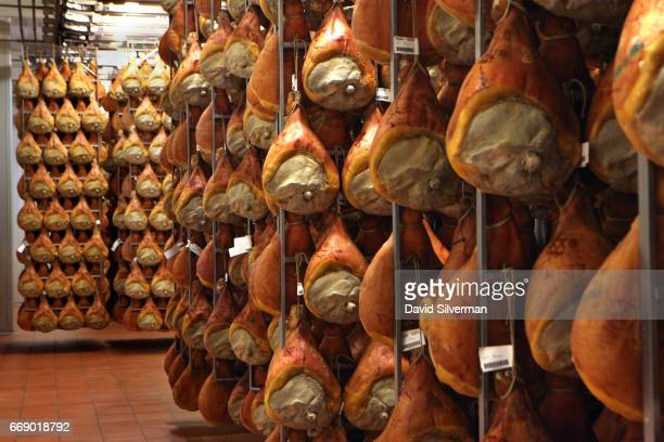 Thousands of Prosciutto di Parma cured pork thighs are matured at the modern stateoftheart Ruliano prosciutto production plant 27 March 2017 in Riano...