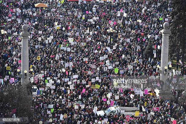 Thousands of protesters at Civic Center Park for the Women's March on Denver January 21 2017 Over 100000 people converged on downtown Denver in...