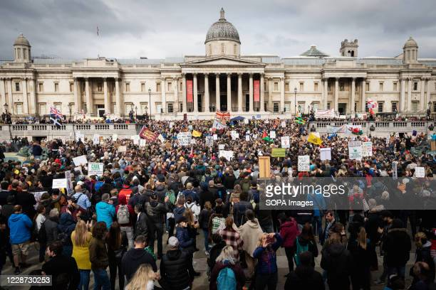 Thousands of protesters attend Trafalgar Square during a rally against the Coronavirus Act 2020. Unite for Freedom protesters gathered at Trafalgar...