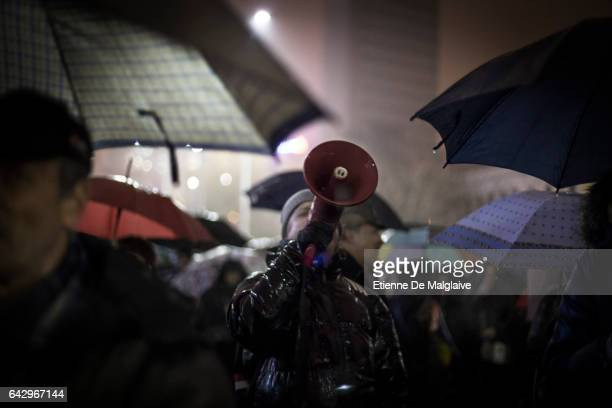 Thousands of protesters braving the rain gather in front of the government headquarters at the Victory square demanding resignation of PM Sorin...