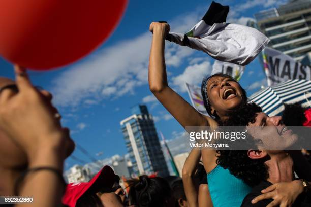 Thousands of protesters call for the impeachment of President Michel Temer and direct elections on June 4 2017 in Sao Paulo Brazil The protest was...