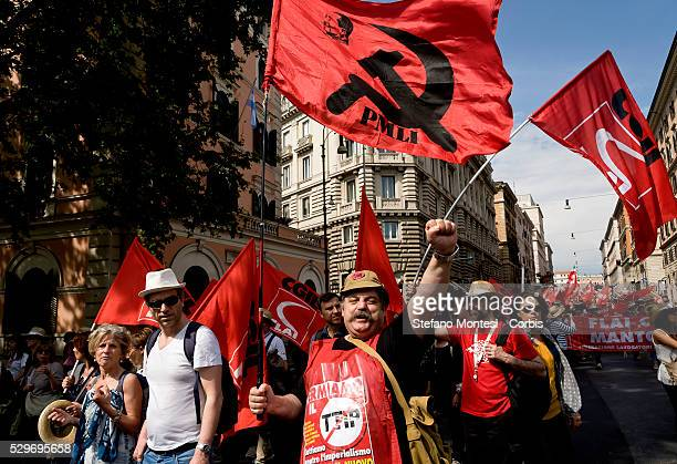 Thousands of protesters demonstrate against the Treaty of Transatlantic Trade and Investment Partnership crossing the city of Rome on May 7 2016 in...