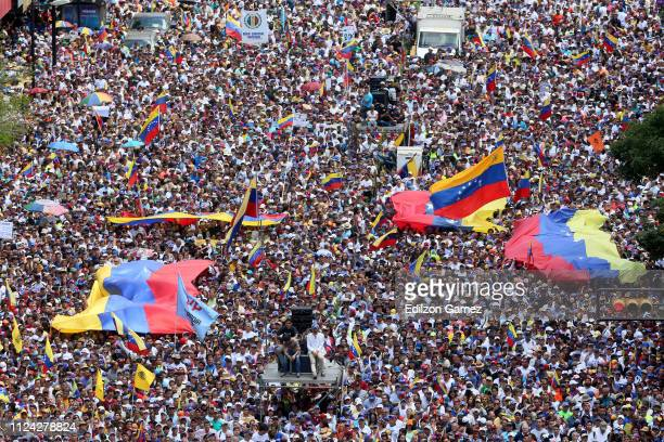 Thousands of protesters gather at Avenida Francisco De Miranda during a demonstration organized by Juan Guaidó President of the Venezuelan National...