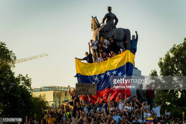 Thousands of protesters gather at Plaza Baquedano to demonstrate their support for opposition leader Juan Guaido as Venezuela's interim president...