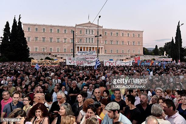 Thousands of protesters gather in front of the Greek parliament in Athens on June 29 2015 Some 17000 people took to the streets of Athens and...