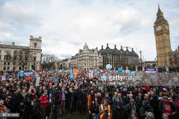 Thousands of protesters gather in Parliament Square during a demonstration in support of the NHS on March 4 2017 in London England Thousands march...
