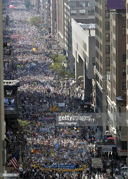Thousands of protesters in the 'United for Peace and Justice' protest march fill Seventh Ave in New York City Sunday August 29th 2004 More than...