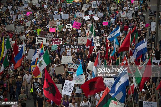 Thousands of protesters march in reaction to the upset election of Republican Donald Trump over Democrat Hillary Clinton in the race for President of...