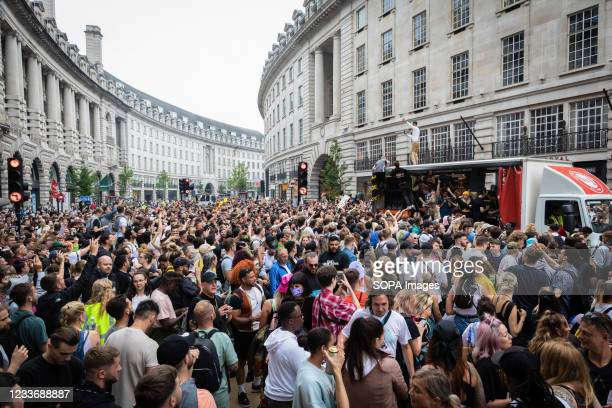 Thousands of protesters march on the street during the Save Our Scene march. The great British music industry came together to unite to save the...