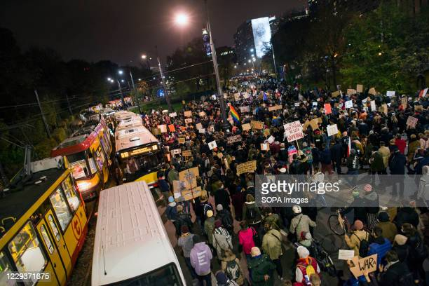 Thousands of protesters march towards the house of Jaroslaw Kaczynski during the demonstration. Tens of thousands of people took to the streets of...