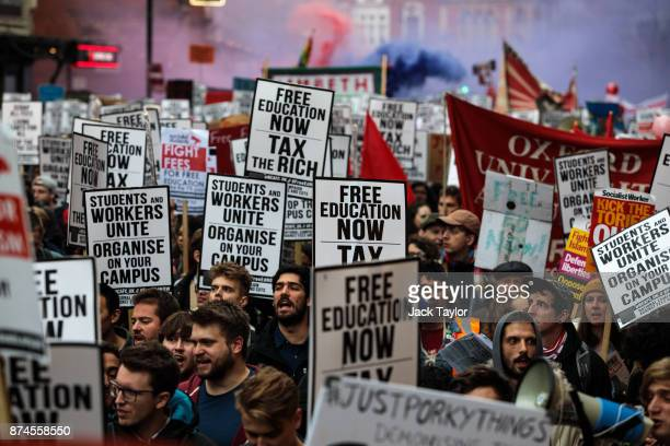 Thousands of protesters march towards Westminster during a demonstration against education cuts on November 15 2017 in London England The National...