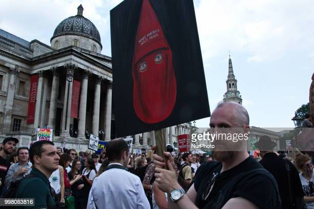 Thousands of protesters marched through central London in protest of Donald Trump's visit on Friday 13 July 2018 The organizers identified the...