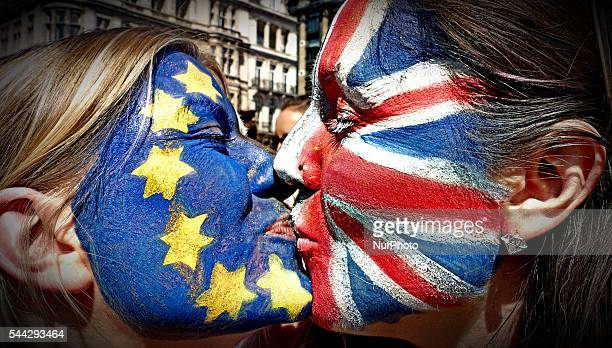 Thousands of protesters take part in a March for Europe through the centre of London on July 2 to protest against Britain's vote to leave the EU...