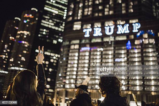 Thousands of protesters take to the streets of Chicago Illinois USA on November 9 2016 after Donald Trump is elected to office president of the...