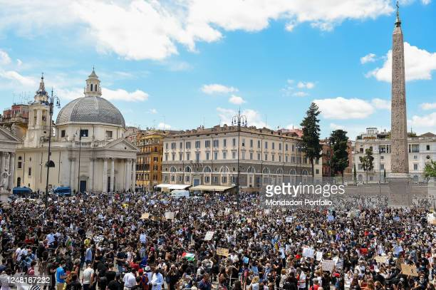 Thousands of protesters with protective masks participated in the Black Lives Matter protest in Piazza del Popolo against racism, police brutality...