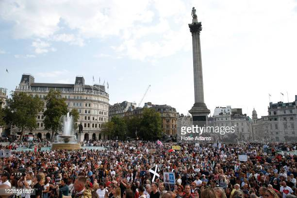 Thousands of protestors attend an Anti-Vax rally at Trafalgar Sq on September 19, 2020 in London, England.