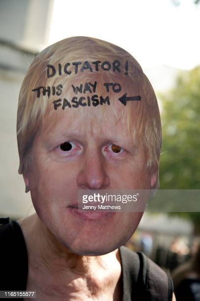 Thousands of protestors demostrate in Whitehall protesting at Prime Minister Boris Johnson suspension of parliament on 31st August 2019 in London...