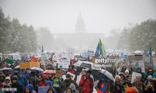 Thousands of protestors gather in Denver Civic Center Park at the People's Climate March on Denver on April 29 2017 in Denver Colorado The protest...