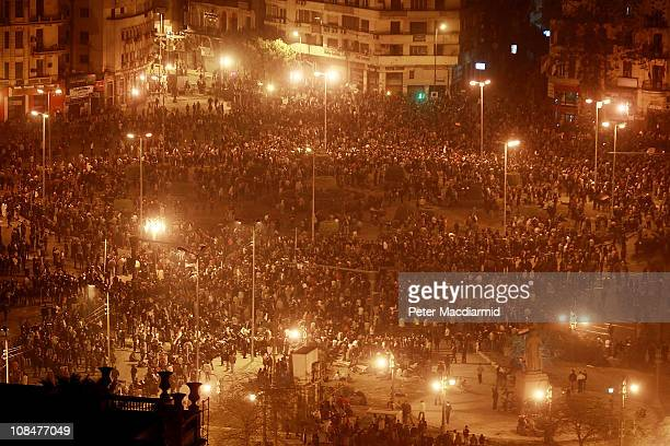 Thousands of protestors gather in Tahrir Square despite a curfew on January 28 2011 in Cairo EgyptThousands of police are on the streets of the...