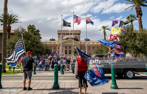 Thousands of pro-Trump supporters attend a Stop The Steal rally just hours after Joe Biden was named President-elect on November 7, 2020 at the State...